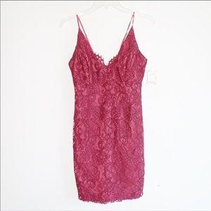 NWT Bardot Burgundy Lace Bodycon Dress 6/S/38